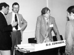 Bob and I chairing a scientific session. Helsinki, 1983