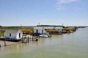 Crabbers sheds on the channel, Tangier Island