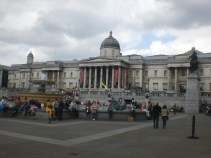 Standing at Trafalgar Square looking at the National Gallery