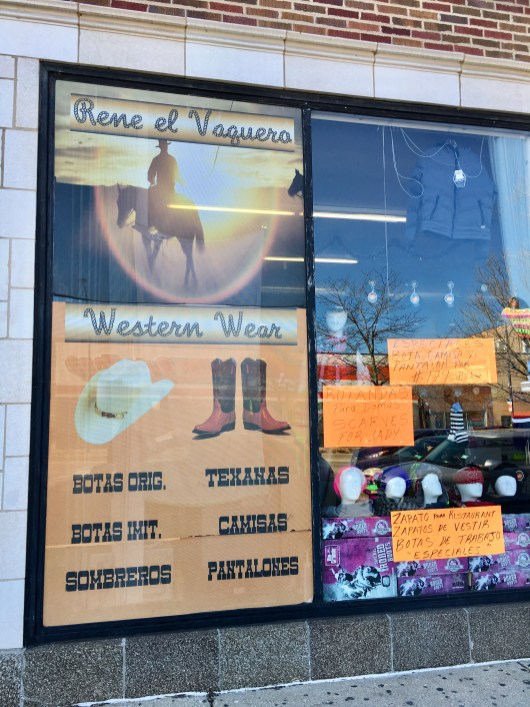 A store offering traditional western clothing caters to the 10 per cent of Hispanics who call the area home.