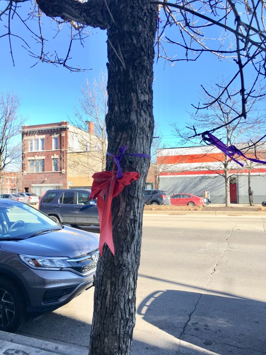 Purple ribbons signify intolerance of domestic abuse.