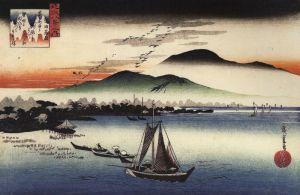 800px-Hiroshige_Fishing_boats_on_a_lake