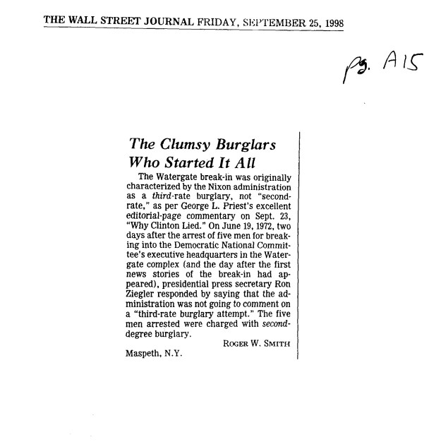 Roger W. Smith, letter to editor, Wall Street Journal, September 25, 1998