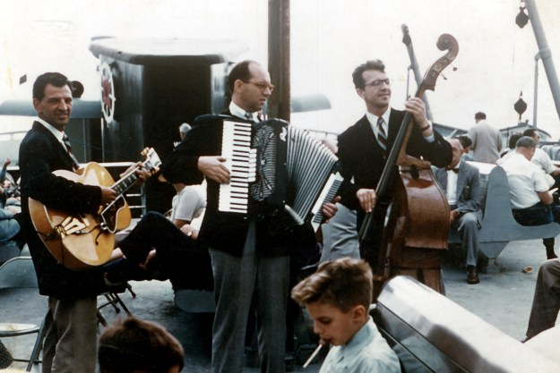 Dad on Boston Belle with Tony Sherbo (guitar) and John Zimmerman (bass) 1950s.jpg