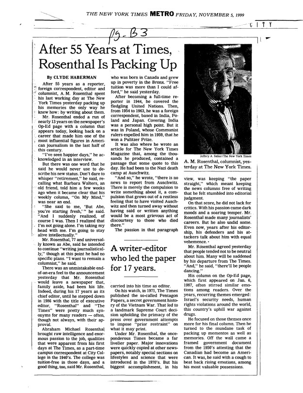 article re A. M. Rosenthal's retirement, NY Times 11-5-1999.jpg