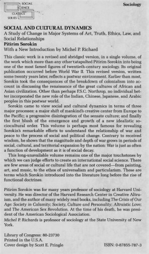 """""""Social and Cultural Dynamics"""" - abridged edition, back cover"""