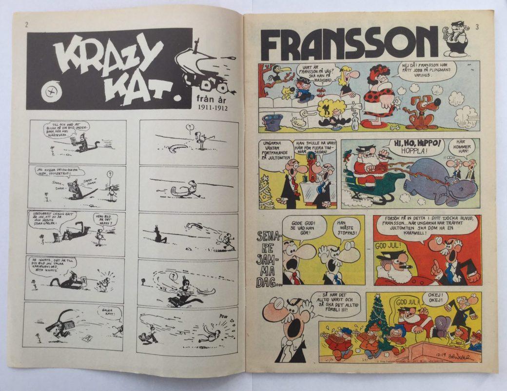 Krazy Kat och Fransson i Serie-Pressen nr 18, 1972