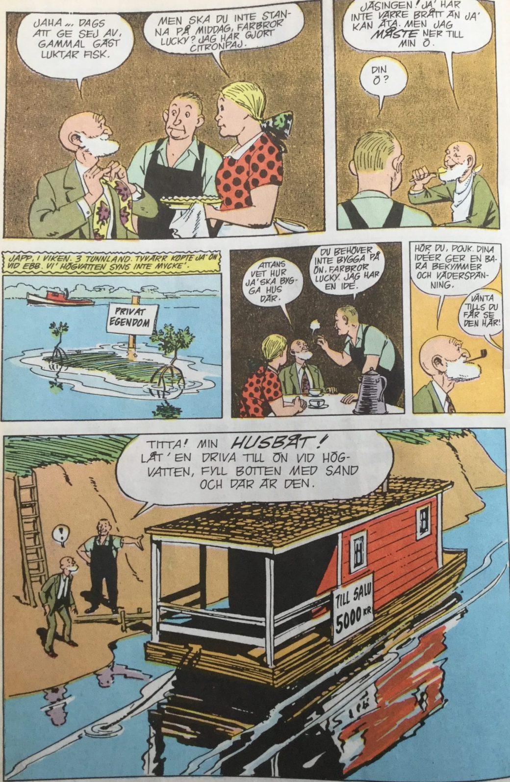 Baksidan till Buz Sawyer och Rosco Sweeney som seriebilaga i SeriePressen nr 7, 1993