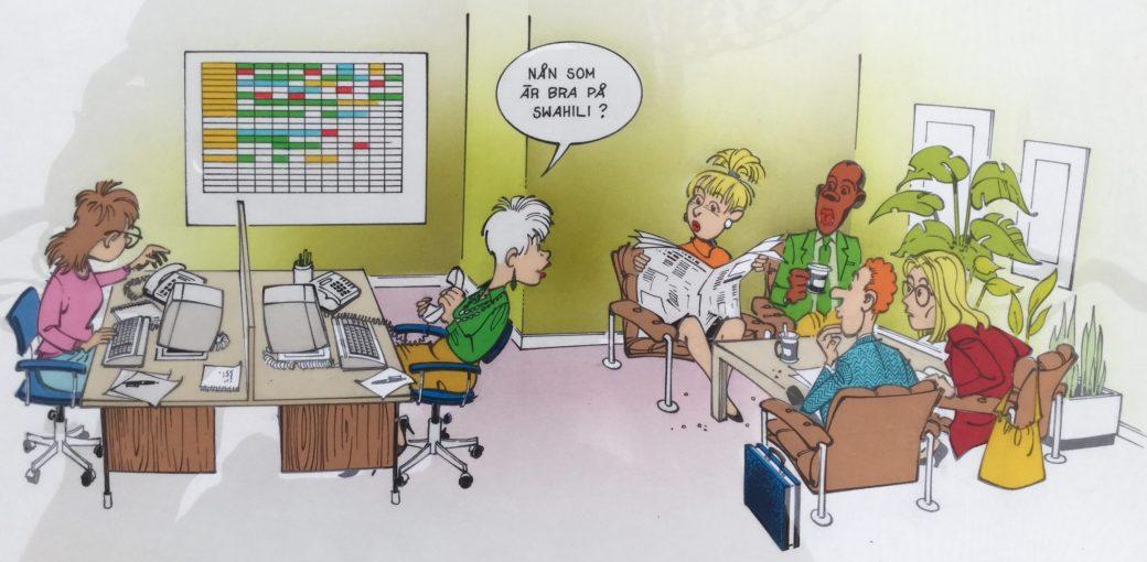 Jansson har illustrerat reklam för Kontorsjouren