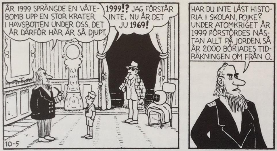 Sjökapten Nemo förklarar hur det kommer sig att det är år 1969 trots att det gått 850 år sedan Felix landade på jorden igen