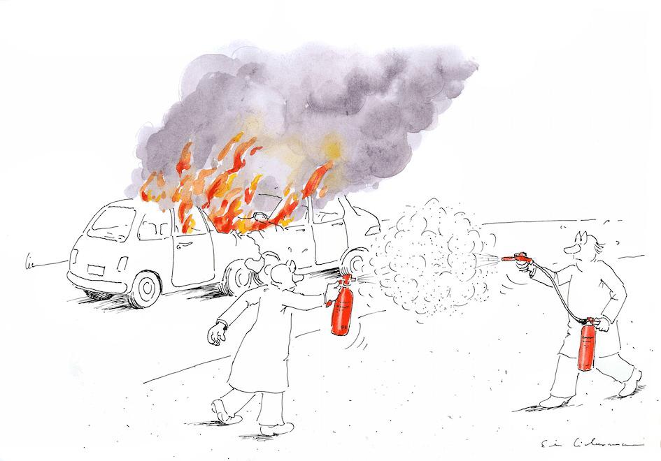 Liebermann färglägger med akvareller på detaljer som fokuserar på det viktigaste
