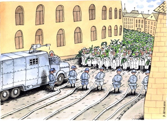 Fredliga demonstranter möts av vattenkanoner