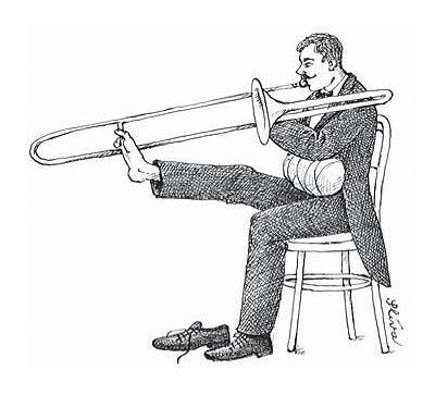 Spela trombon med foten