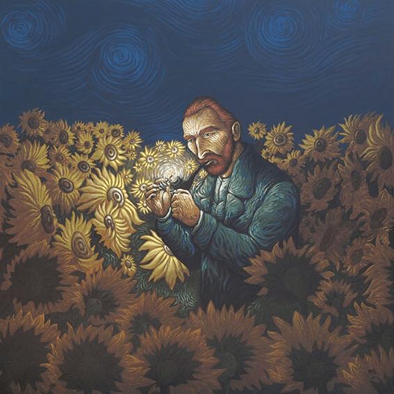 Van Gogh i ett fält med solrosor, av Aristides Hernandez
