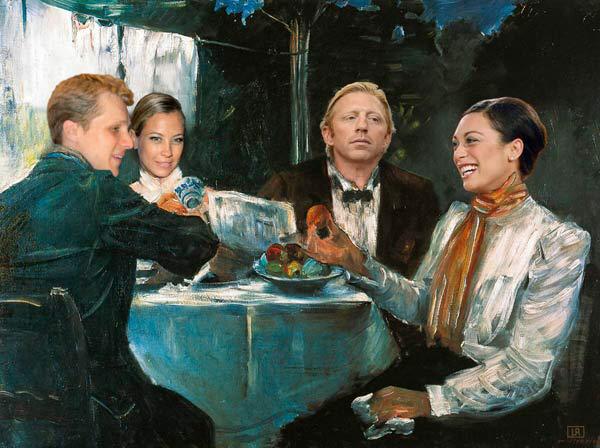 Boris Becker och hans före detta fru Lilly i ett montage av Löffler