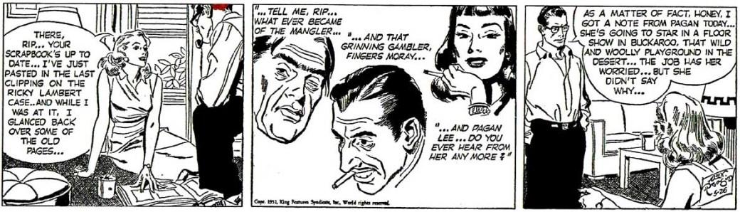 En Rip Kirby-stripp från 26 maj 1952