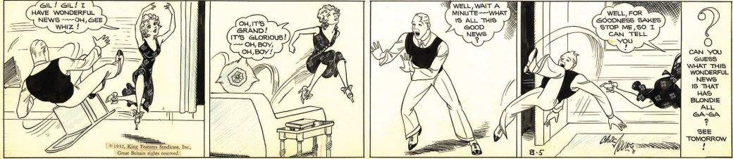 Alex Raymond assisterade ett par år på Blondie, här en stripp från 5 augusti 1932