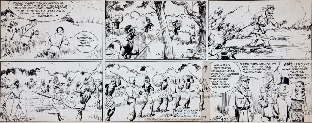 """Alex Raymond """"spöktecknade"""" Tim Tyler's Luck, här en söndagsstripp från 23 april 1933"""