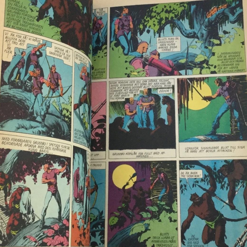 Serierna i Blixt Gordon-albumet Seriebiblioteket (Hemmets Journal)  var i färg