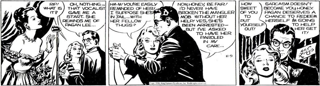 En Rip Kirby-stripp från 5 november 1946, av Ward Greene och Alex Raymond