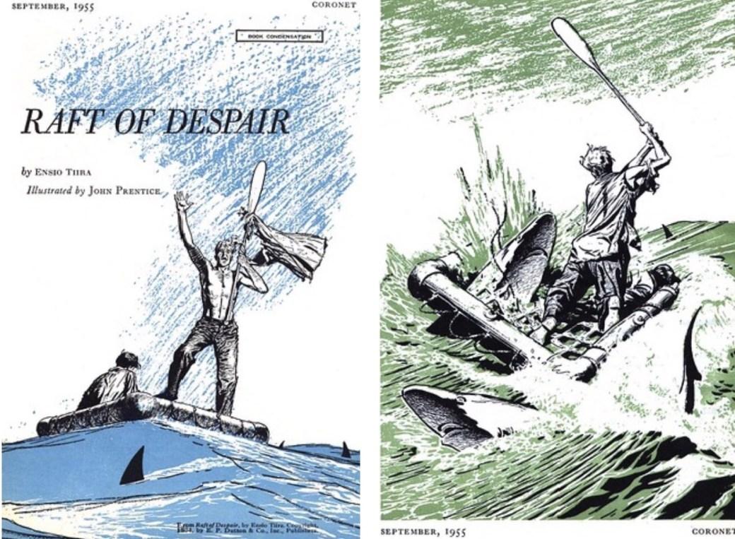 Året innan Prentice började på Rip Kirby, illustrerade han denna historia för Coronet magazine