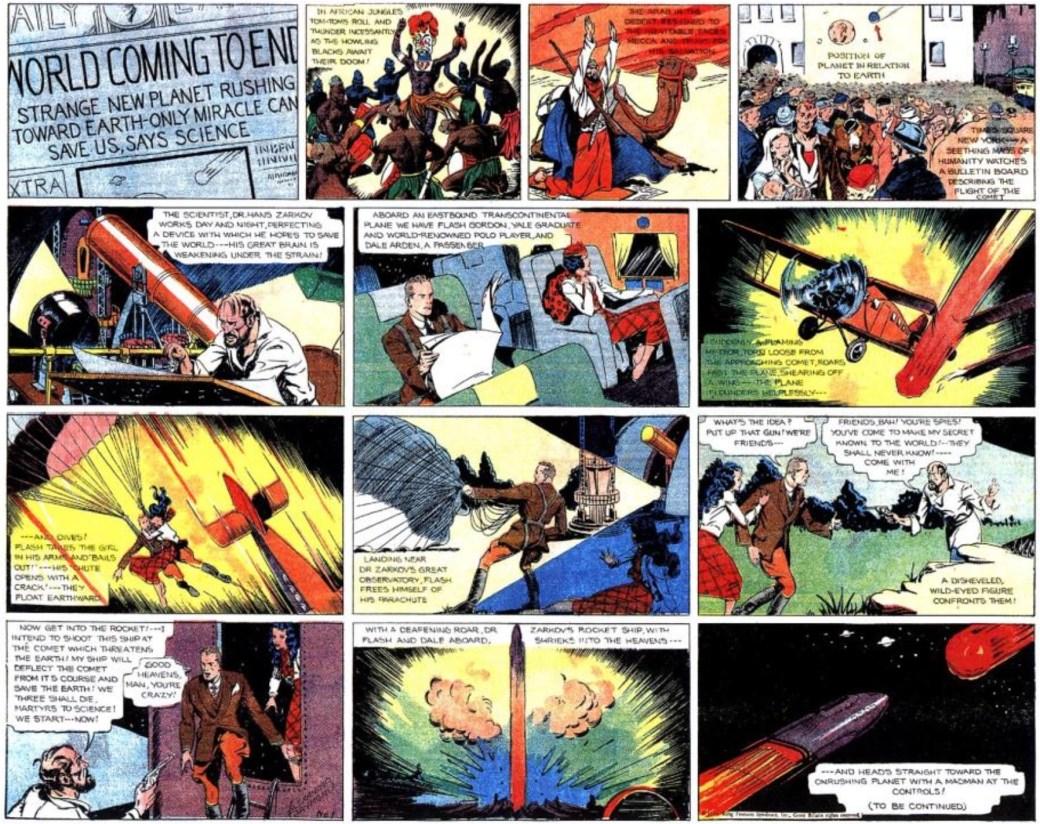 Den dramatiska första söndagssidan med Flash Gordon