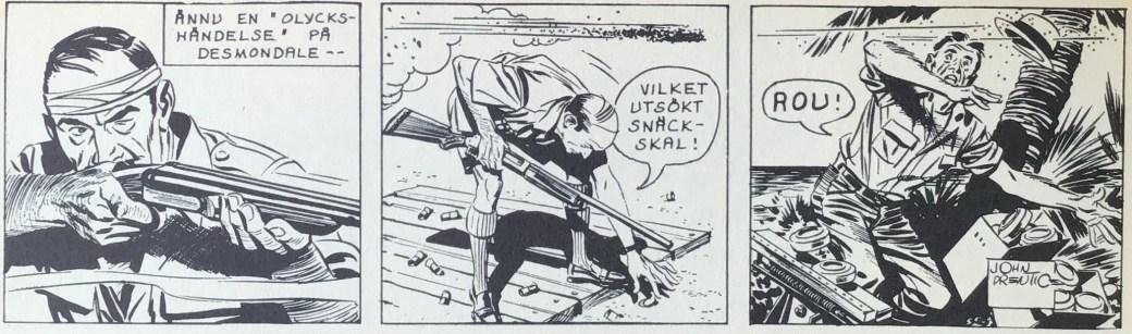 En Rip Kirby-stripp från måndag 8 oktober 1962 ur Comics nr 2, som fortsättning på strippen ovan