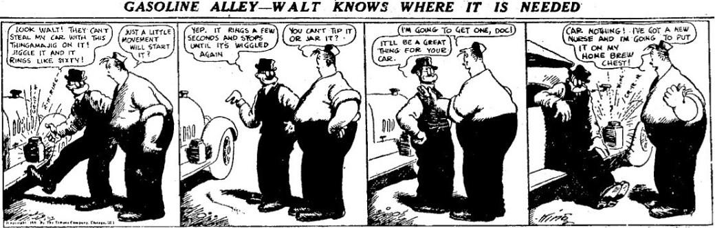 En dagsstripp från 17 april 1921, horisontell som vi sedan dess är vana att se dem