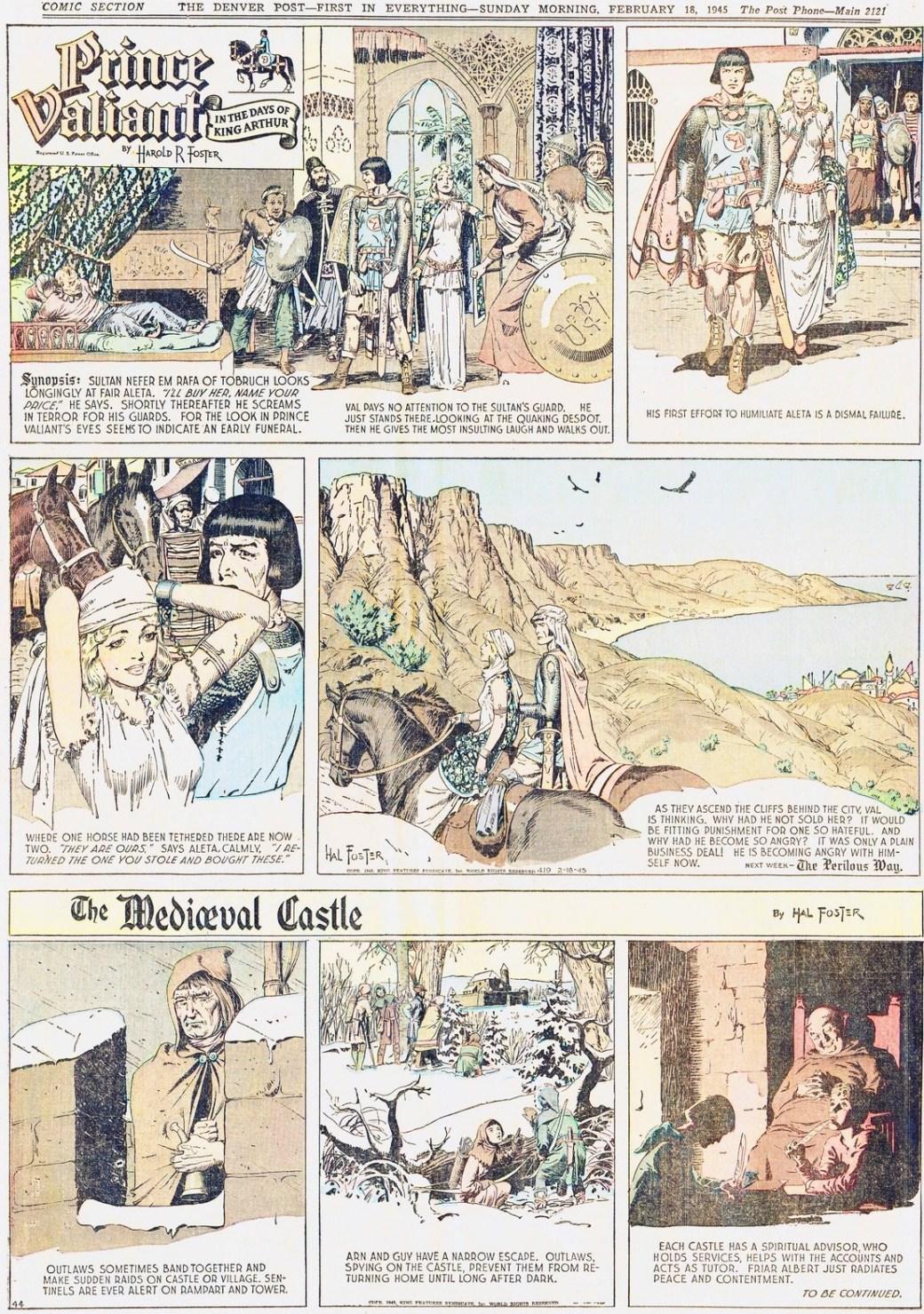 Ett klipp från den 18 februari 1945 som visar hur Prince Valiant och The Mediæval Castle samexisterade på samma söndagssida