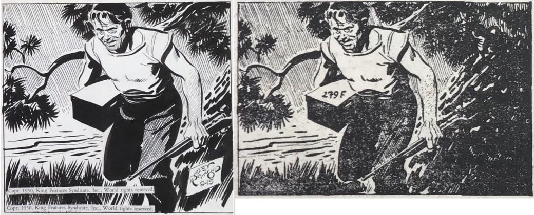 En ruta ur en stripp från 15 september 1950 publicerad i Peter Falk nr 1, 1964.