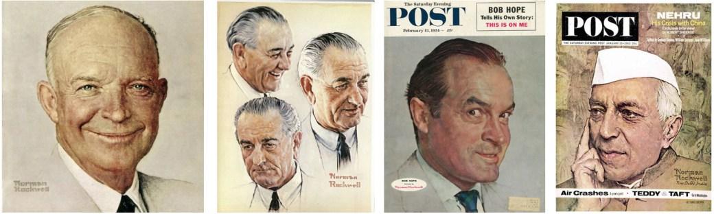 Norman Rockwells porträtt av Eisenhower, Johnson, Bob Hope och Nehru