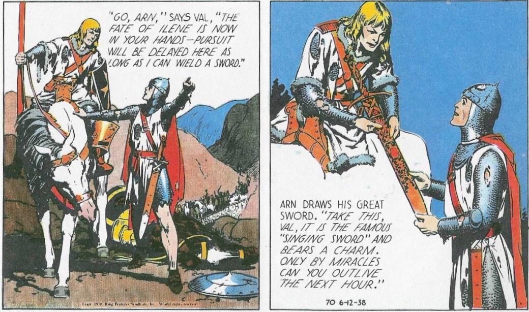 Den 12 juni 1938 får Valiant det sjungande svärdet av prins Arn