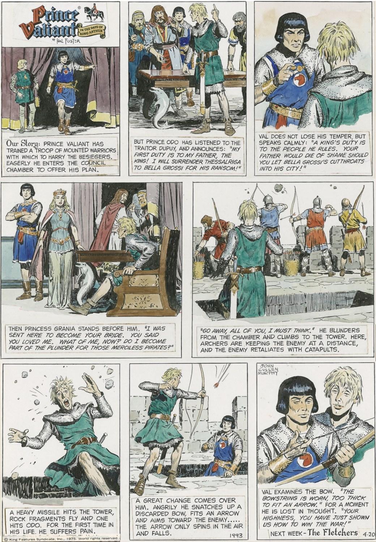 En Prince Valiant-sida av John Cullen Murphy från 20 april 1975