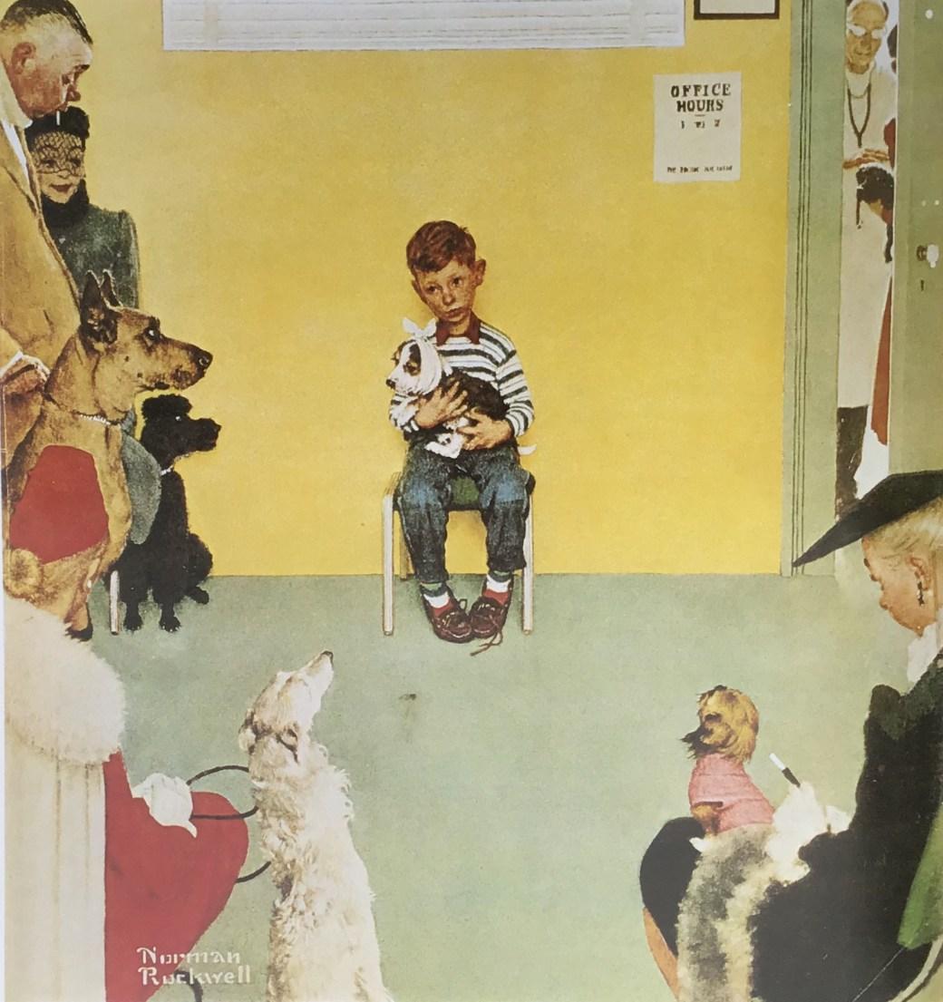 Norman Rockwell och djuren: Waiting for the Vet, som uppträdde på omslaget till the Post den 29 mars 1952
