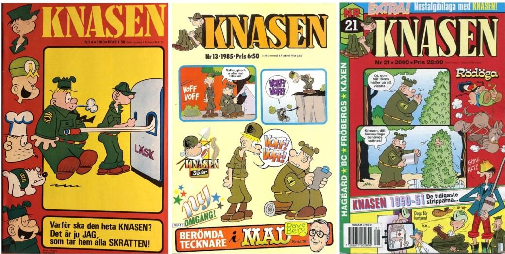 Svenska Knasen-tidningen från 1970, 1985 och år 2000. ©Semic
