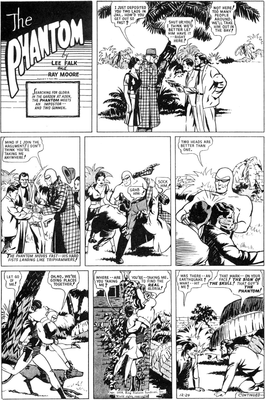 Söndagssidan från 24 december 1939, ur episoden The Precious Cargo of Colonel Winn