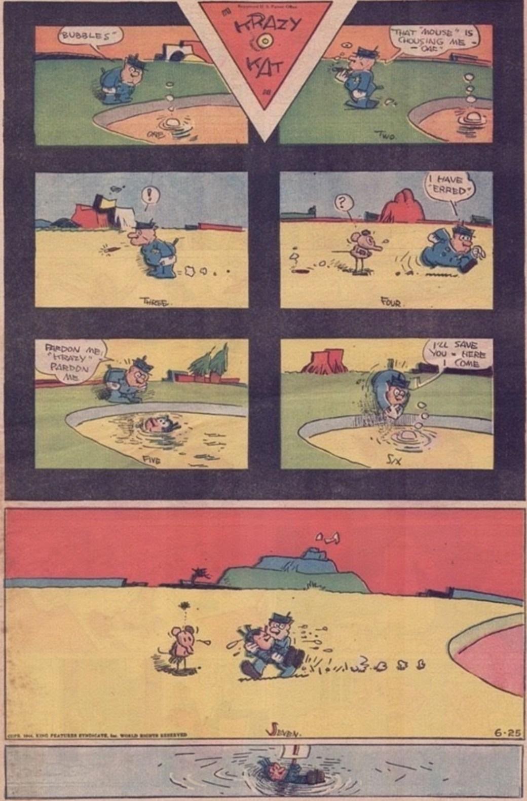 Herrimans sista söndagssida med Krazy Kat, publicerad 25 juni 1944, efter George Herrimans död