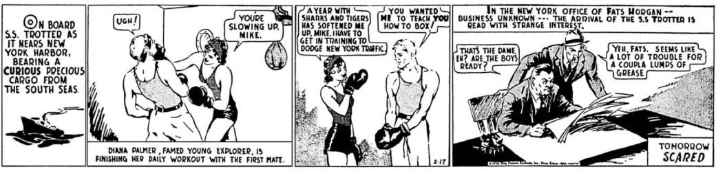 Första dagsstrippen av The Phantom av Ray Moore, från 17 februari 1936
