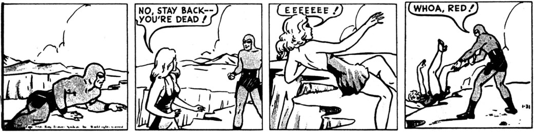 En dagsstripp ur episoden The Mermaids of Melo Straits, från 31 januari 1946
