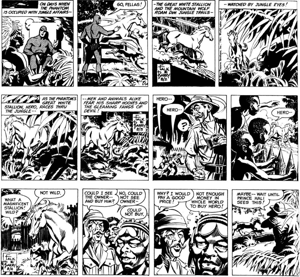 Inledningen till episoden The White Stallion, från 2-4 augusti 1965
