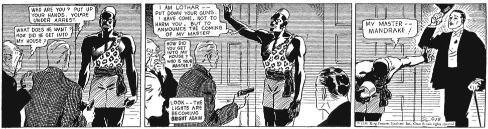 Mandrake gjorde en dramatisk entré i serien den 15 juni 1934