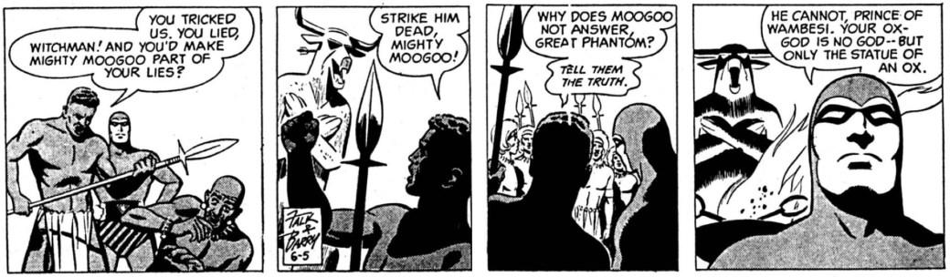 Dagsstrippen från den 5 juni 1962, där Sy Barry tuschade Fantomen