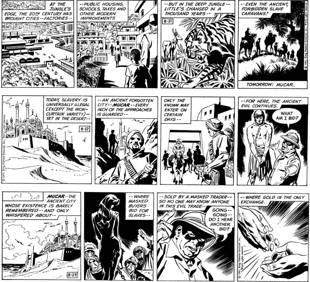 Barrys första Fantomen-strippar var episoden The Slave Market of Mucar, som började 21 augusti 1961