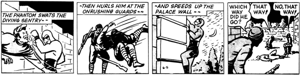 Under Fantomen-episoden Princess Valerie 1946 övertog McCoy tecknandet, här en stripp från 5 juni