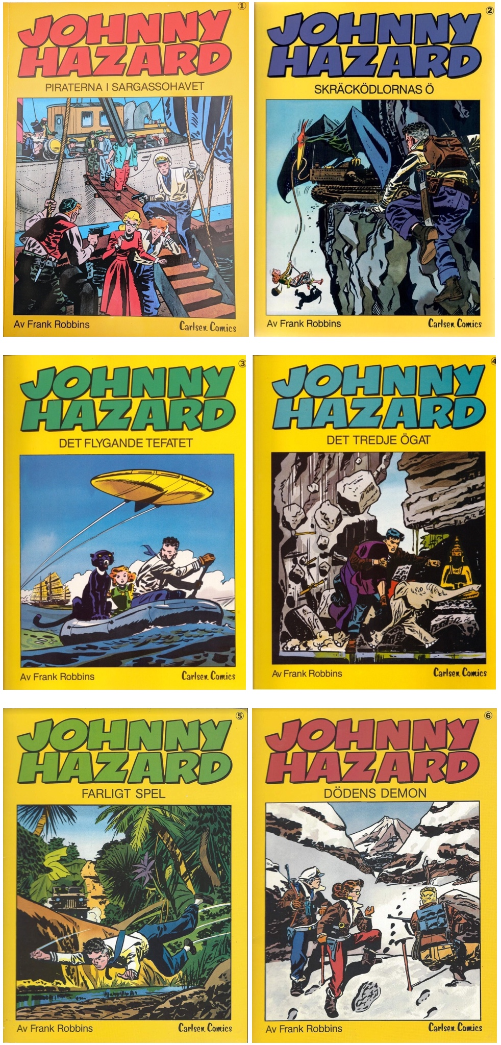 Johnny Hazards äventyr, utgivna av Carlsen 1983-86