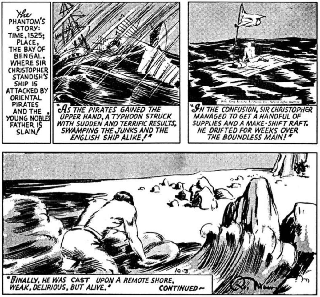 Fantomen berättar för Diana den 3 oktober 1936 om ursprunget till Fantomen-myten