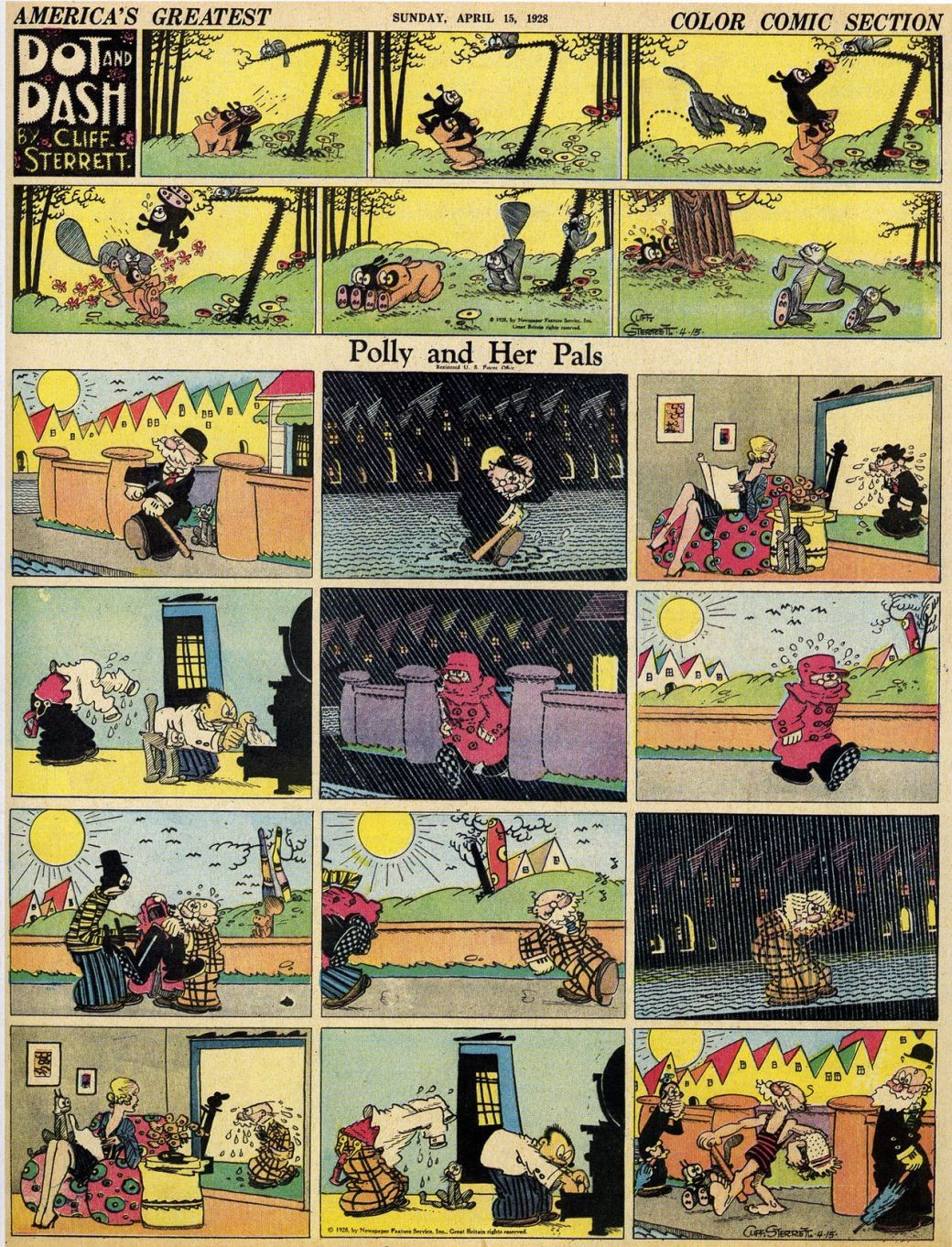 "Polly and Her Pals med ""toppern"" Dot and Dash av Cliff Sterrett från 15 april 1928"