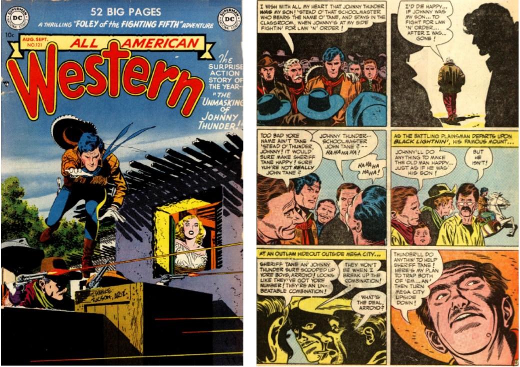 Barry arbetade (som tuschare) tillsammans med Kanigher och Toth på denna Johnny Thunder-berättelse ur All American Western 121 från aug/sep 1952