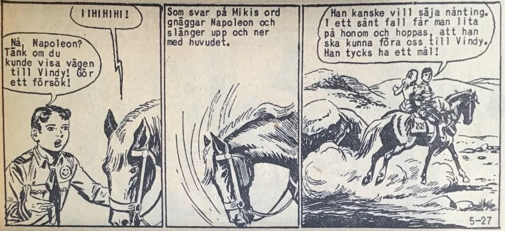 En sida ur Vilda Västern nr 5, 1959, med Mikis trogna häst Napoleon