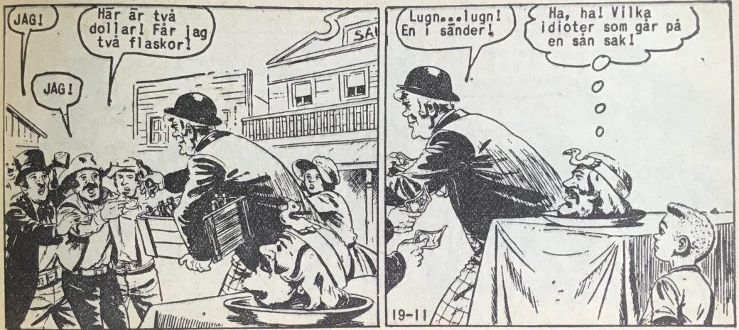 En sida ur Vilda Västern nr 19, 1958, med Windy och Salasso som gärna  ägnar sig åt ett och annat bedrägeri